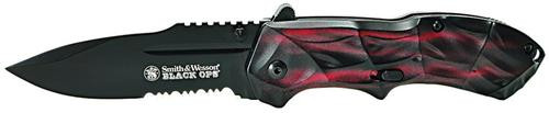 Smith & Wesson Knives Black Ops Red Partially Serrated