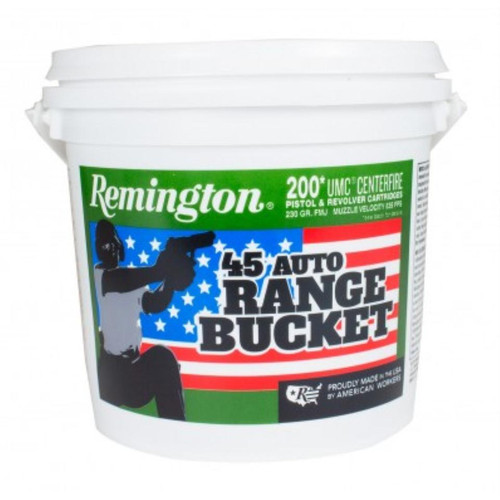 Remington UMC Range Bucket 45 ACP, 230gr, Metal Case (FMJ), 200rd/Bucket
