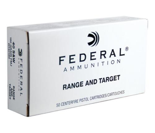 Federal Range and Target Handgun Ammunition .40 S&W 180gr, FMJ, 50rd Box