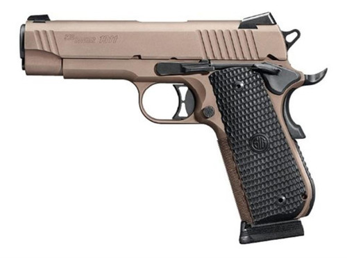 "Sig 1911 Emperor Scorpion 357 Sig 4.2"" Barrel Flat Dark Earth g10 Grips 8rd Mag"