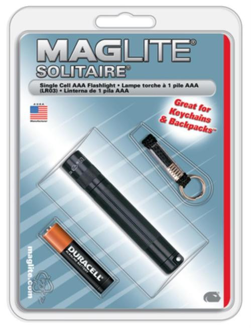 "Maglite Solitaire Incandescent Flashlight 3x.5""1AAA Black"