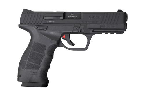 "SAR USA SAR9 9mm, 4.4"" Barrel, 3-Dot Sights, Ambi Safety, Black, 17rd"