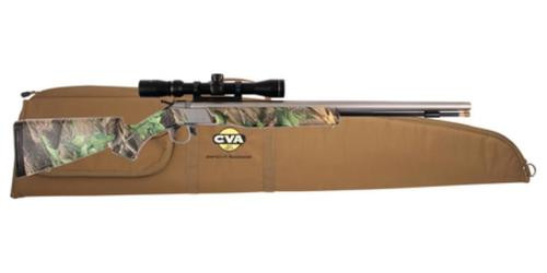 "CVA Wolf 209 Muzzleloader .50 Caliber 24"" Stainless Steel Barrel Ambidextrous Composite Stock Realtree Hardwoods Green Finish With KonusShot 3-9x32mm Scope and Padded Soft Case"
