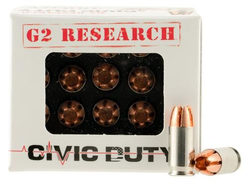 G2 Research Civic Duty, 380ACP, 64gr, Lead Free Copper, 20rd Box, California Certified Nonlead Ammunition