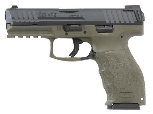 "HK VP9 9mm, 4.09"", 15rd, 3 Mags, Night Sights, OD Green Finish"