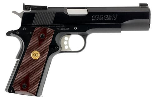 "Colt Gold Cup National Match Series 70 1911, 9mm, 5"", 9rd, Walnut, Gold Medallion, Blued Steel"
