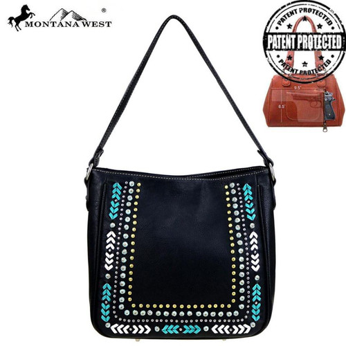 Montana West Studs Collection Concealed Handgun Tote, Black