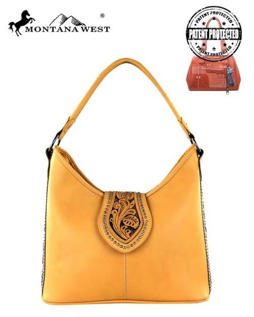 Montana West Tooling Concealed Handgun Collection Handbag, Brown
