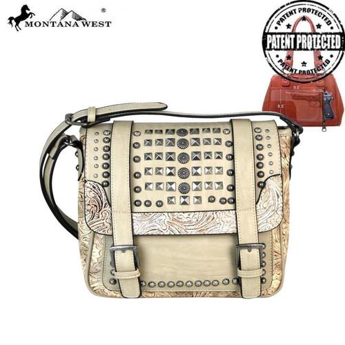 Montana West Slanted Stud Collection Concealed Handgun Messenger Bag, Beige