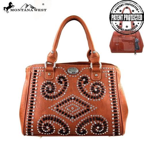 Montana West Bling Bling Collection Concealed Handgun Handbag, Brown