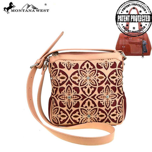 Montana West Floral Collection Concealed Handgun Crossbody Bag, Red