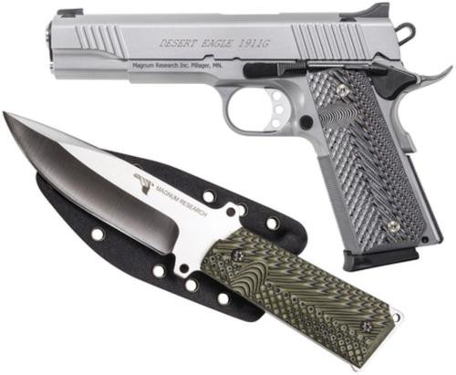 "Desert Eagle 1911 Pistol/Knife Combo 45 ACP 5"" Barrel SS Finish 8rd Mag Plus 1911 Fixed Blade Knife, Sheath"