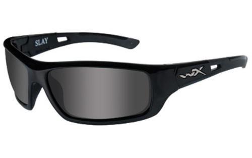 Wiley X Slay, Sunglasses, Medium Head Size, Gloss Black Frame, Polarized Smoke Grey Lens, ANSI Approved ACSLA04