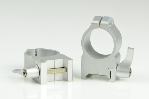 Warne 1 Inch, QD, High Silver Rings, Steel, Fixed for Maxima/Weaver Style or Picatinny Bases