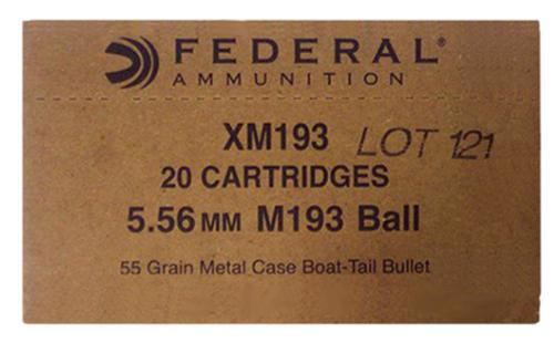 Federal XM 5.56 NATO 55gr, FMJ, Boat Tail, 1000rd/Box