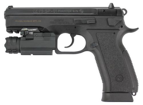 "CZ 75 SP-01 Phantom 9mm Black 4.6"" Barrel, Rail Mount Tac Light18rd Mag"