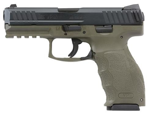 "HK VP40 Double 40 S&W 4.09"" 2- 13rd Mags 3-Dot OD Green Interchangeable Backstrap Grip"