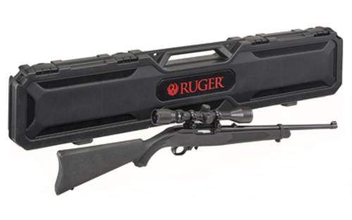 "Ruger 10/22 Carbine 22LR, 18.5"" Barrel, Satin Black, Weaver Scope and Case, 10Rd Mag"