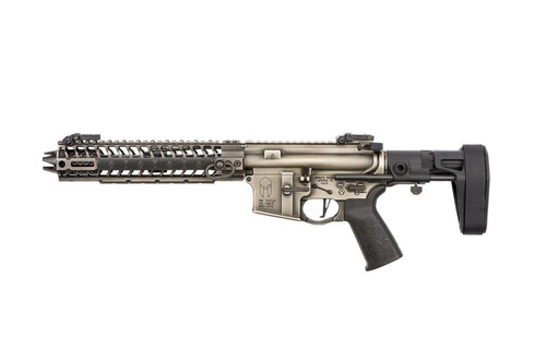 "Spike's Spartan Pistol, Maxim Brace 556/223, 8"" Barrel, 10"" M-LOK Rail, Nickel Boron Battleworn Finish 30rd Mag"