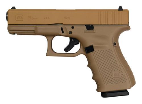 "Glock G19 Gen4 9mm 4"" Barrel Cerakote Elite Tactical Coyote Tan Made in USA 15rd Mag"