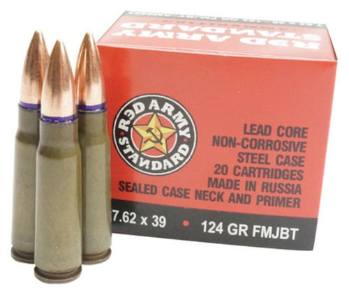 Red Army Standard Made in Russia 7.62x39mm 124gr, FMJ, Boattail, 20rd Boxes x 50, 1000rd/Case