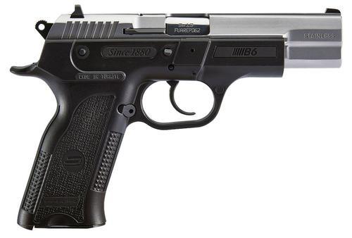 "SAR USA B6, 9mm, 4.5"" Barrel, 17rd, Stainless Steel Slide, Black Polymer Frame"