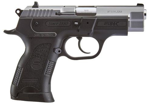 "SAR USA B6C Compact 9mm, 3.8"", 13rd, 3-Dot Sights, Stainless Steel Slide, Black Polymer Frame"