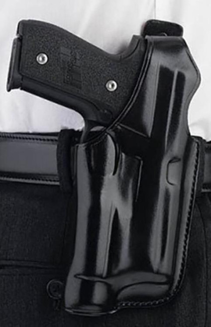 """Galco Halo Fits Belt Width 1.75"""" Black Leather, Kimber 5 19, Right Hand, Black"""