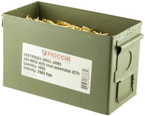Fiocchi Canned Heat 223 Remington/5.56 NATO 62gr, Full Metal Jacket 1000 Rounds
