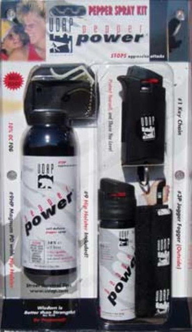 UDAP Pepper Spray Kit 3 Pack Multiple Close Contact Black