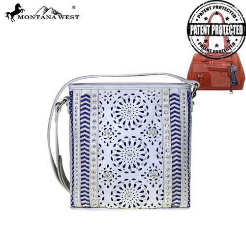 Montana West Laser-Cut Collection Concealed Handgun Crossbody, Turquoise