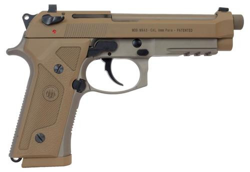 "Beretta, M9A3, Semi-automatic, Full, 9mm, 5"" Threaded Barrel, Alloy Frame, Flat Dark Earth, 10Rd, 3 Mags, Ambidextrous, Tritium Night Sights"