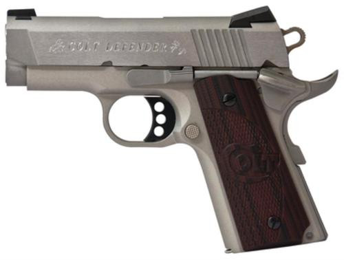 "Colt Defender 45 ACP, 3"", Brushed Cerakote SS, Novak Sights, G10 Grips, 7rd"