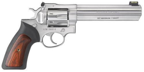 "Ruger GP100 .357 Mag, 6"", 7rd, Satin Stainless Steel, Fiber Optic Front Sight, Adjustable Rear Sight"