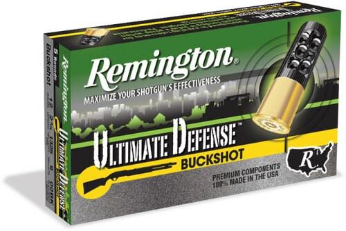 "Remington Ultimate Defense 12 Gauge 2.75"" Buckshot 15 Pellets 00 Buck 5 Bx"