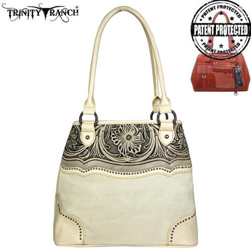 Montana West Trinity Ranch Tooled Leather Collection Concealed Handgun Satchel - Tan