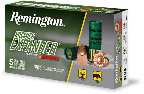 "Remington Premiere Expander Slug PRX12, 12 Ga, 2.75"", 1450 fps, 437 Gr, 5rd Box"
