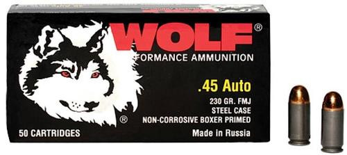 Wolf Military Classic 45 ACP 230gr, Full Metal Jacket, 500rd/Case (10 Boxes)