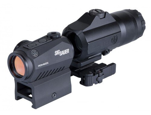 Sig Romeo5 Red Dot Sight, 2 MOA RED Dot, M1913, Black, Juliet3 3X Magnifier, Black