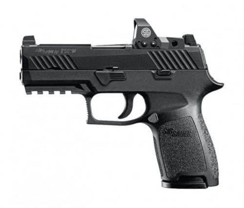 "Sig P320 Compact RX Double 9mm, 3.9"", Black Grip, Black Nitron Stainless, 10rd, Romeo1 Reflex"