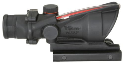 Trijicon ACOG 4x32mm Dual Illumination Scope Calibrated For M4 Flat Top 5.56 Rifles Chevron, Red Dot Reticle