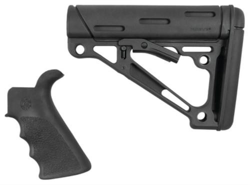 Hogue AR-15/M16 Collapsible Buttstock Kit With Finger Groove Beavertail Grip Commercial Buffer Tube Black