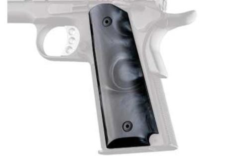 Hogue Grips Grip, Fits Colt Government, Polymer Ambidextrous Safety Cut, Black Pearlized Finish