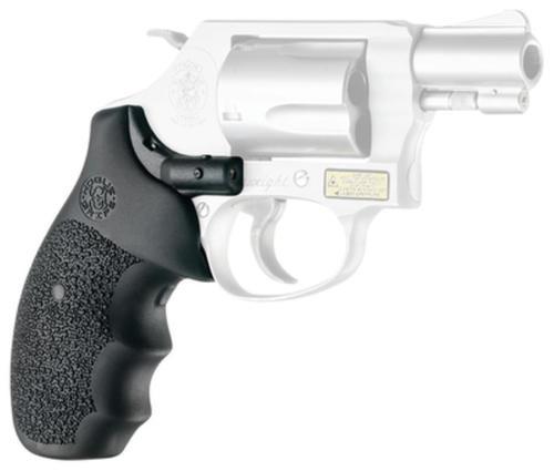 Hogue Laser Enhanced Grip S&W J Frame Round Butt Red Laser Black Grip