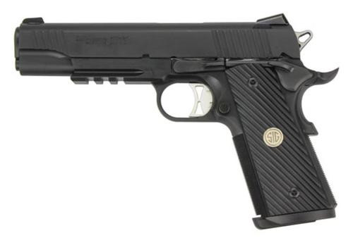 "Sig 1911 TacOps, 9mm, 5"" Barrel, SS Magwell, Ambi Safety, Rail, (4) 9rd Mags"