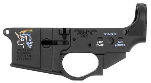 Spikes STLS030CFA Lower Snowflake with Color Fill AR Platform Multi-Caliber Black Hardcoat Anodized