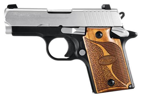 "Sig P938 9mm, 3"", SAS, 2-Tone, SAO, Siglite, Walnut Grip, Ambi Saftey, Dehorned, MA Compliant, 7rd Mag"
