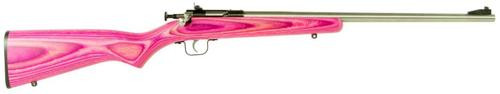 "Keystone Crickett 22LR, 16.12"", Pink Laminate Stock, Stainless Steel"