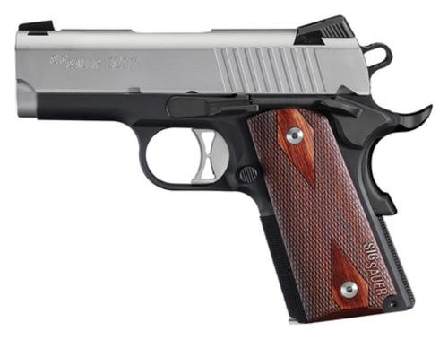 "Sig 1911 Ultra Compact Single 9mm, 3.3"", Rosewood Grip, Black Nitron Stainless, 8rd, *MA Compliant*"