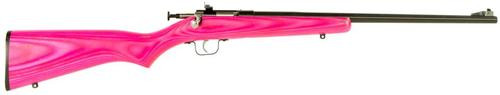 "Keystone Crickett 22LR, 16.12"", Pink Laminate Stock, Blued"